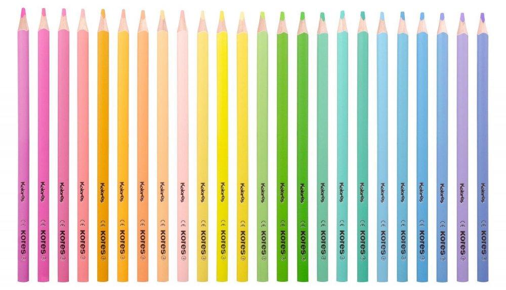 Trójkątne kredki Kolores PASTEL, 3 mm / 24 kolorów