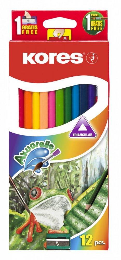 AKUARELLE Kredki akwarelowe trójkątne, 3mm miejsce na podpis, pędzelek, temperówka / 12 kolorów