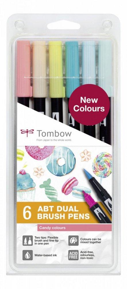 Flamaster Brush pen ABT – Candy colours, 6 szt.