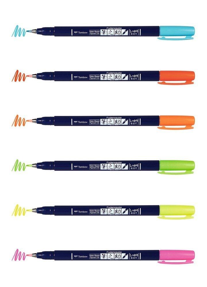 Flamaster Brush pen Fudenosuke, set 6 szt
