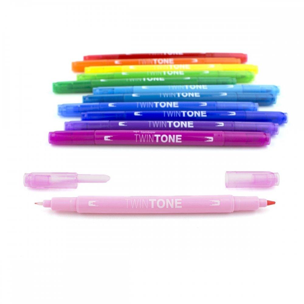 Marker TwinTone, 12 sztuk, kolory tęczy