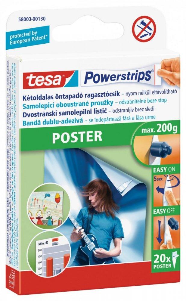 Poster, oboustranné proužky na plakáty, bílé, nosnost 200g, balení 20ks