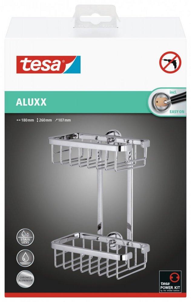 Aluxx Samoprzylepny, chromowany koszyk podwójny prostokątny