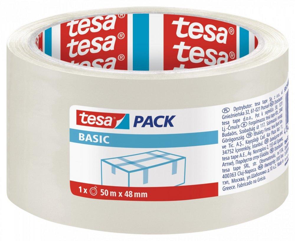 Balicí páska BASIC, základní, transparentní, 50m x 48mm