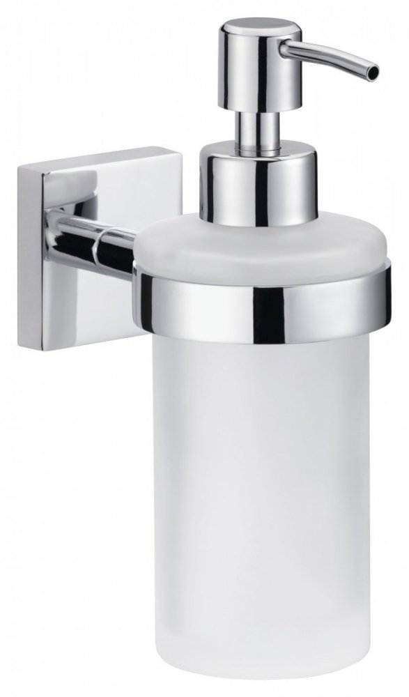 Ekkro Chromowany, samoprzylepny dozownik mydła  ze szkła satynowego