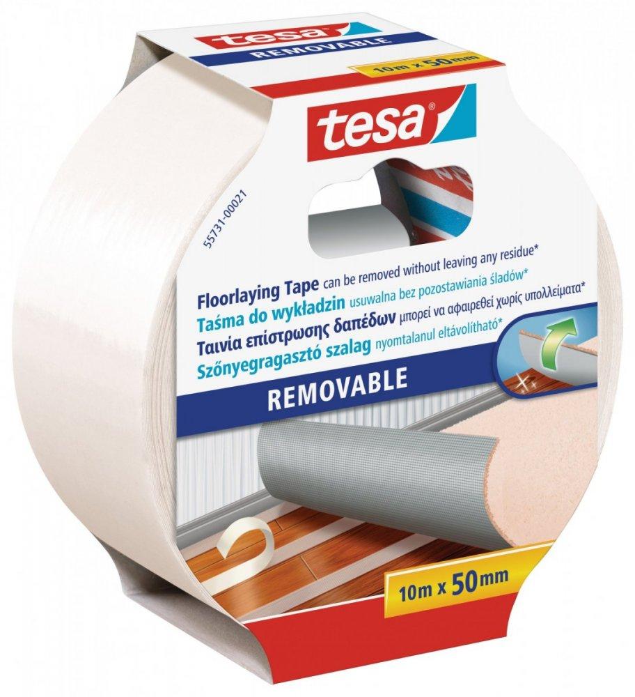 Oboustranná kobercová páska, odstranitelná s výztuhou, bílá, 10m x 50mm