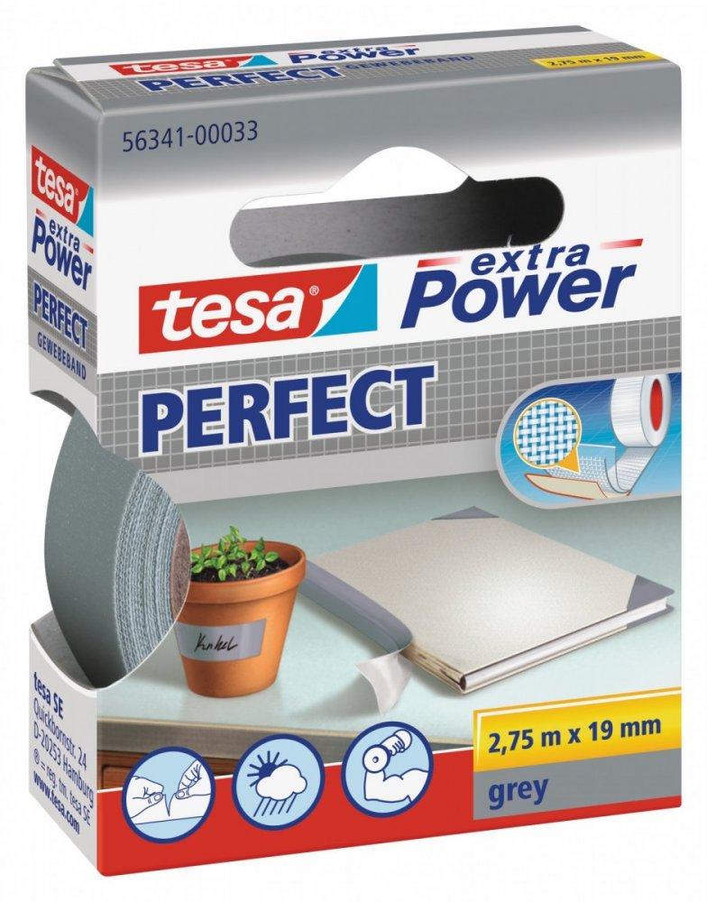 Opravná páska Extra Power Perfect, textilní, odolná, šedá, 2,75m x 19mm