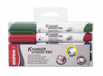 K-MARKER do białych tablic XW1, okrągła końcówka, mix kolorów w kartonie 4 szt.