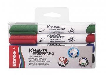 K-MARKER do białych tablic XW2, ścięta końcówka, mix kolorów w wiszącym opakowaniu 4 szt.