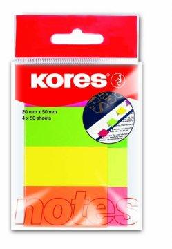 Papierowa zakładka w mixie 4 kolorów neonowych, 20x50mm