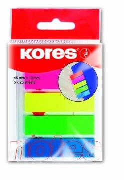 Zakładki Index Strips w podajniku,  5 kolorów, 12x45mm