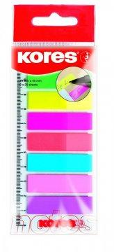 Zakładki Index Strips w podajniku, 8 kolorów 12x45mm, na linijce