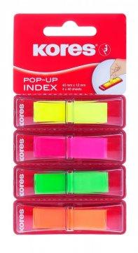 Zakładki Pop-up w mini podajniku, 45x12mm, mix 4 kolorów