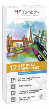 Flamaster Brush pen ABT – Primary colours, 12 szt.