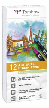 Flamaster Brush pen ABT – Pastels, 12 szt.