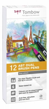 Flamaster Brush pen ABT – Grey Tone, 12 szt.