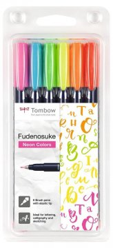 Flamaster Brush pen Fudenosuke, set 6 szt